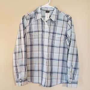 Patagonia Long Sleeve Blue and White Button Down